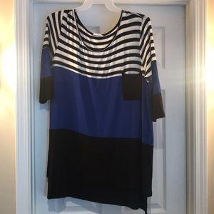 Blue black and striped half sleeve
